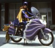60s Batgirl on bike cosplay
