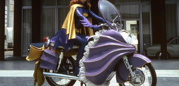 60s Batgirl on bike cosplay