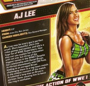 AJ Lee action figure box card blurb, WWE