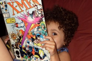 Wendy B kid reading x-men