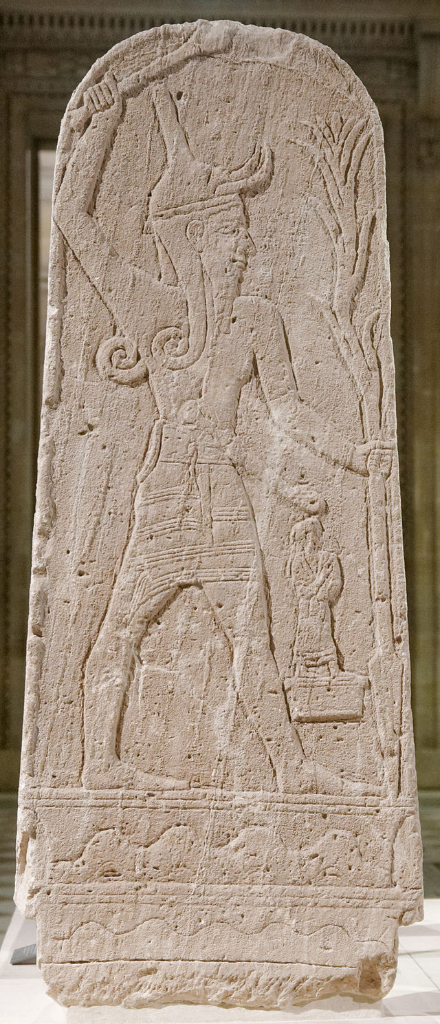 Stele of Baal with Thunderbolt, 15th-13th century BC. Found at the acropolis in Ras Shamra (ancient city of Ugarit).