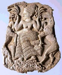 Cosmetic box cover in ivory, 1200-1150 BC, from Ugarit, depicting a fertility goddess. Louvre museum.