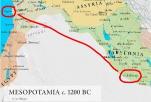 """Crop of """"Mesopotamia c. 1200 BC"""" map by Ian Mladjov; cities of Ugarit and Uruk highlighted by me"""
