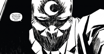 Moon Knight, from issue 5 of Moon Knight (2014). Writer: Warren Ellis. Artist: Declan Shalvey. Color Art: Jordie Bellaire. Letterer: Chris Eliopoulos.