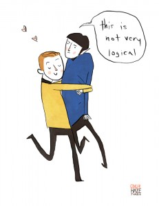 Noelle Stevenson, Star Trek Kirk and Spock fanart, gingerhaze.tumblr, 2014