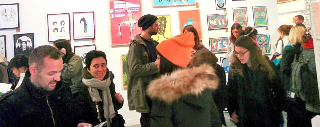 Crowd of visitors, London Illustration Fair, 2014, photos by Frances Carbines