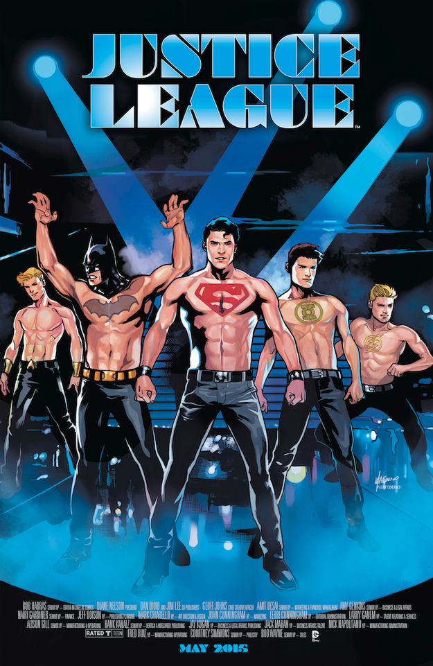 JUSTICE LEAGUE #40. Inspired by MAGIC MIKE. Cover Art by Emanuela Lupacchino. DC Comics. Variant Cover.