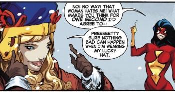 Carol Danvers' Lucky hat, Captain Marvel #9, Kelly-Sue DeConnick, Filipe Andrade's, Jordie Bellaire, pattern by Nikol Lohr