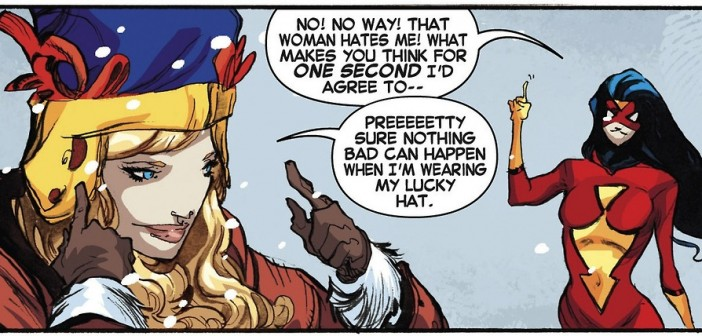 Carol Danvers' Lucky hat, Captain Marvel #9, Kelly-Sue DeConnick, Filipe Andrade's, Jordie Bellaire, pattern by Nikol Lohr