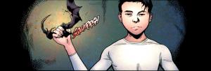 Damian Wayne squashing a bat, Batman and Robin, Patrick Gleason, Grant Morrison, DC Comics