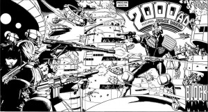 Judge Dredd: Block Mania; Writers: John Wagner, Alan Grant; Artists: Mike McMahon, Tom Smith; 2000AD, 1981 (reprinted in Judge Dredd: The Mega Collection)
