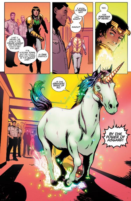 Panels from Loki Agent of Asgard #8, Al Ewing (writer), Lee Garbett (artist), Nolan Woodard (colorist), Marvel Comics, 2014.