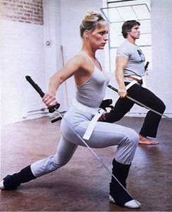 Sandahl Bergman and Arnie training for Conan the Barbarian, 1982