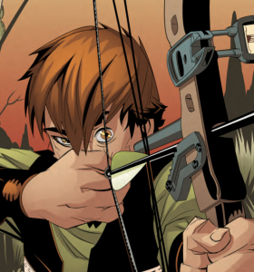 Rob teas up the bow, Sherwood, TX, WRITTEN BY SHANE BERRYHILL PENCILS BY DANIEL HILLYARD INKS BY DANIEL HILLYARD COLORS BY CHARLIE KIRCHOFF LETTERS BY ED DUKESHIRE COVER BY ANDREW ROBINSON