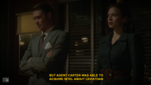 "In episode 5, ""The Iron Ceiling,"" Agent Jack Thompson (Chad Michael Murray) gives credit to Agent Carter (Hayley Atwell) for her work in Belarus. Source: Hulu.com. ABC / Marvel Studios. Original air date: 2/3/2015."