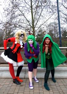 Harley Quinn, Joker, Poison Ivy: Batman Rogues' Gallery Cosplayers, OK True Believers, Cheltenham Racecourse, 2015