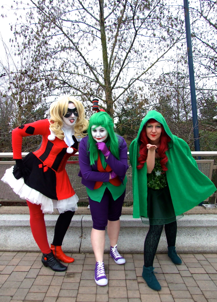 Harley Quinn, Joker, Poison Ivy: Batman Rogues' Gallery Cosplayers, OK True Believers, Cheltenham Racecourse, 2015