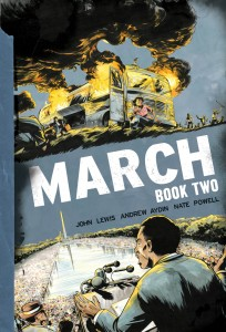 March Book 2 cover, writer rep. john lewis, andrew aydin, artist nate powell, top shelf 2015