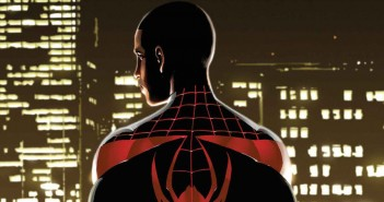 Miles Morales: Ultimate Spider-Man #1 Cover banner. 2014. Writing by Michael Brian Bendis. Art by David Marquez. Marvel Comics.