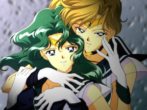 Sailor Uranus, Sailor Neptune, hug & caress, Toei, Naoki Takeuchi