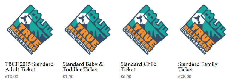 Ticket Prices & Logo, OK True Believers Comics Festival, Cheltenham Racecourse, 2015
