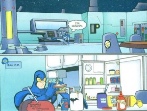 panels from Justice League Unlimited #5 Adam Beechen (writer) Carlo Barberi (pencils) Walden Wong (inks) Heroic Age (colors). DC Comics, 2005