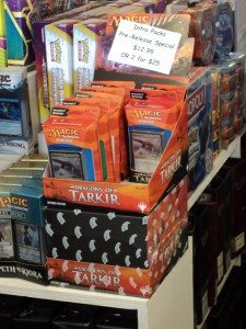 An in-store display for the Dragons of Tarkir intro packs at the World of Collections DTK prerelease in Edmonds, WA.