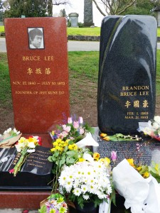 Graves of Bruce and Brandon Lee, Lake View Cemetery Seattle March 2015