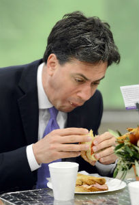 Ed Miliband eating a bacon sandwich