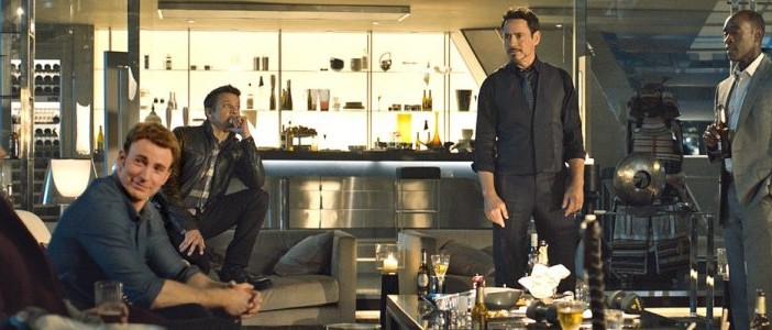 Image from Avengers: Age of Ultron. Chris Hemsworth, Chris Evans, Jeremy Renner, Robert Downey Jr., Don Cheadle, directed by Joss Whedon, Marvel Studios 2015.