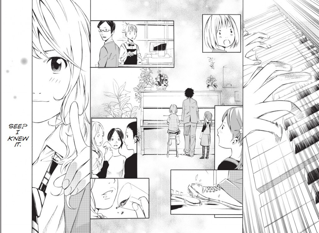 Kaori watches Kosei play. Your Lie in April, © Naoshi Arakawa/Kodansha Ltd. All rights reserved. April, 2015.