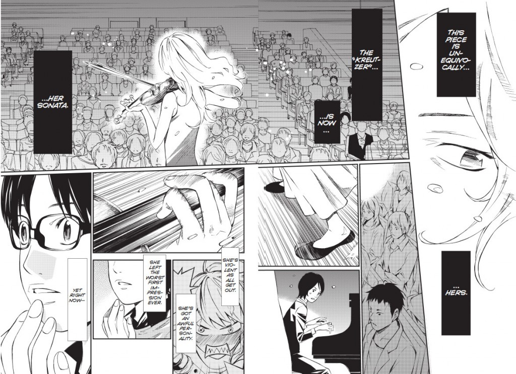 Kosei watches Kaori perform. Your Lie in April, © Naoshi Arakawa/Kodansha Ltd. All rights reserved. April, 2015.