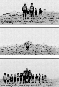 Naruto Uzumaki and Gaara comparison from Naruto chapter 262. Story & art by Masashi Kishimoto. Viz, 2003-2015.