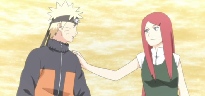 Naruto and Kushina Uzumaki from Naruto episode Shippuden 246. Original story & art by Masashi Kishimoto. Studio Pierrot, 2007-2015.