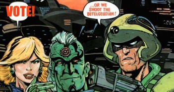 1988 2000AD annual cover, Brendan McCarthy (Judge Anderson, Strontium Dog and Tharg)