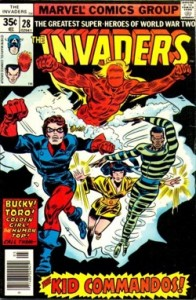 Invaders 28, with Bucky, Golden Girl, the Human Top, and Toro