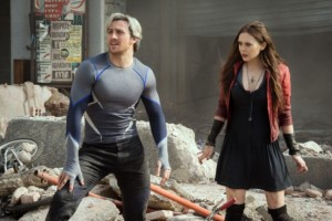 Quicksilver and Scarlet Witch (Aaron Taylor-Johnson and Elizabeth Olsen) - promo still from Avengers Age of Ultron. Directed by Joss Whedon. Marvel Studios, 2015.