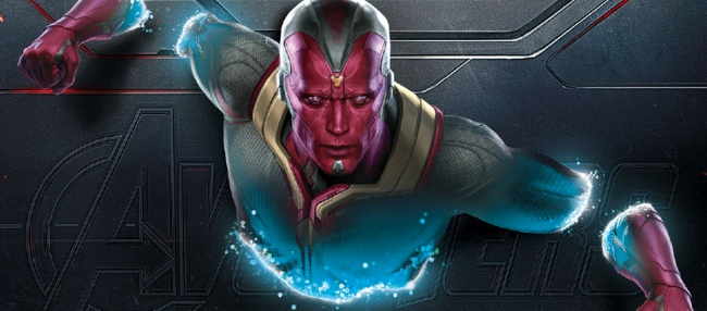 Vision (Paul Bettany) - promo image from Avengers Age of Ultron. Directed by Joss Whedon. Marvel Studios, 2015.