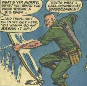 A panel of Jay Littlebear from Panel from Captain Savage and his Battlefield Raiders #12, by Gary Friedrich and Dick Ayers