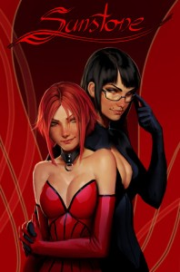 Sunstone by Stjepan Šejić | Top Cow - Two woman standing close to each other, one with short red hair wearing a red corset and gloves, the other with long black hair, black glasses and black gloves, smirking at each other