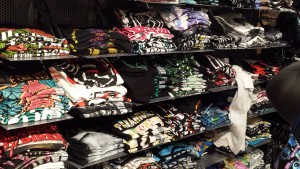 Wall of women's tshirts at Hot Topic