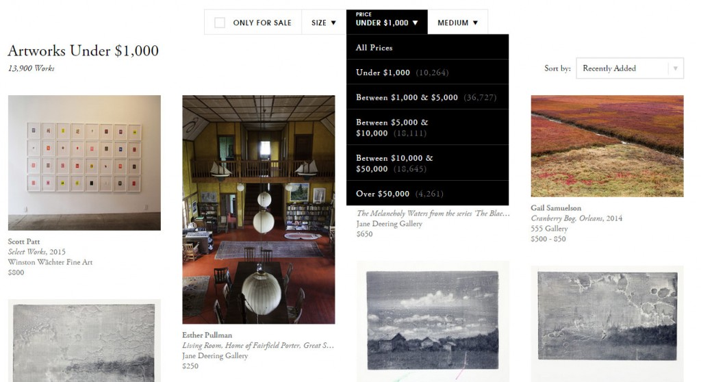 Artsy.com Works for Sale on June 19, 2015