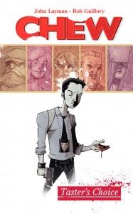 Chew Volume 1 cover, writer John Layman, artist Rob Guillory, Image Comics 2009