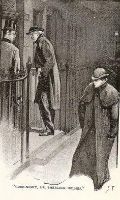 Irene Adler (lower right) says goodbye to Sherlock. Illustration by Sydney Paget, 1891