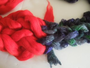 The join between the COWYAK yarn and the wool roving.