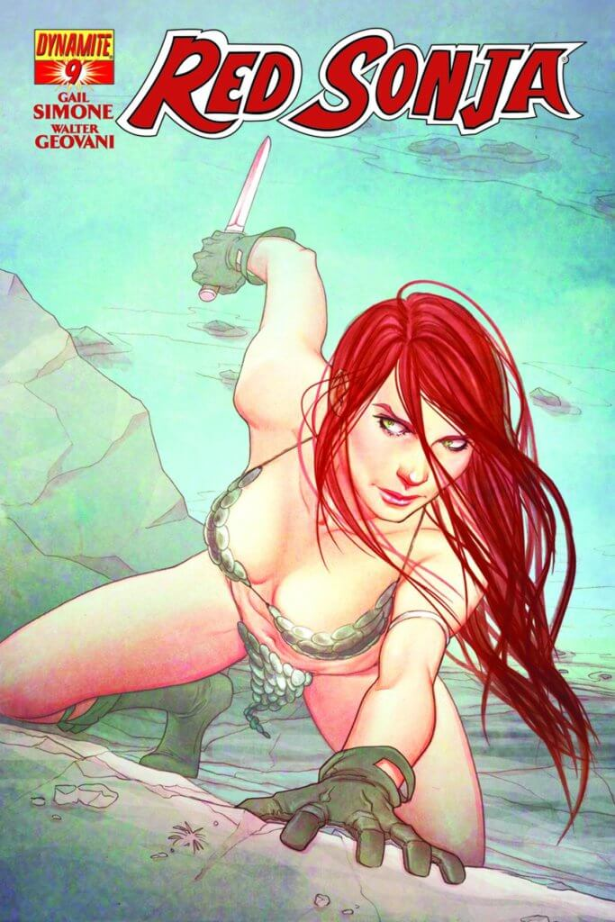 Red Sonja crawls out of the water onto a rocky shore, knife in hand
