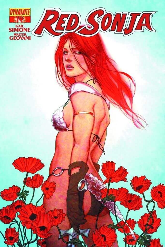 Red Sonja stands facing back toward the audience in a field of poppies