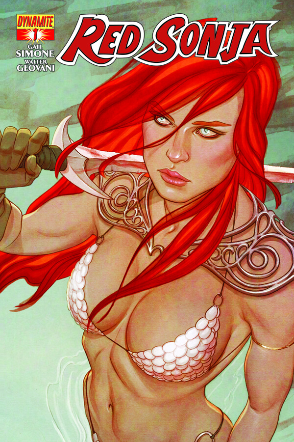 Red Sonja rests her sword on her shoulder as she looks up into the camera