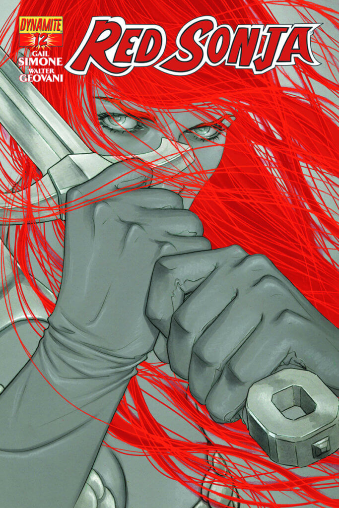 Close up of Red Sonja, her face, except for her eyes, are hidden by her gloved hands on her sword