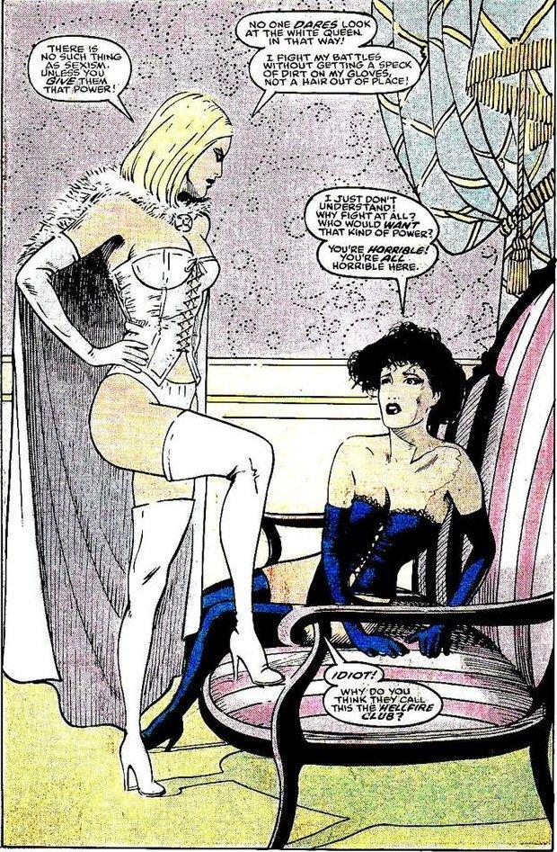 Emma Frost explains sexism, Classic X-Men #34, Ann Nocenti & John Bolton, Marvel Comics